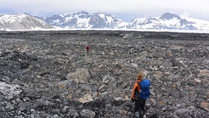 Debris field in front of glaciers