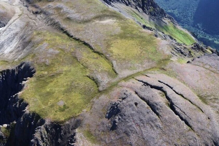 hill with parallel cracks